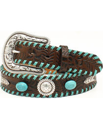 Nocona Women's Turquoise Laced Western Belt, , hi-res