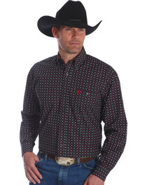Wrangler Men's Black George Strait Print Long Sleeve Shirt , , hi-res