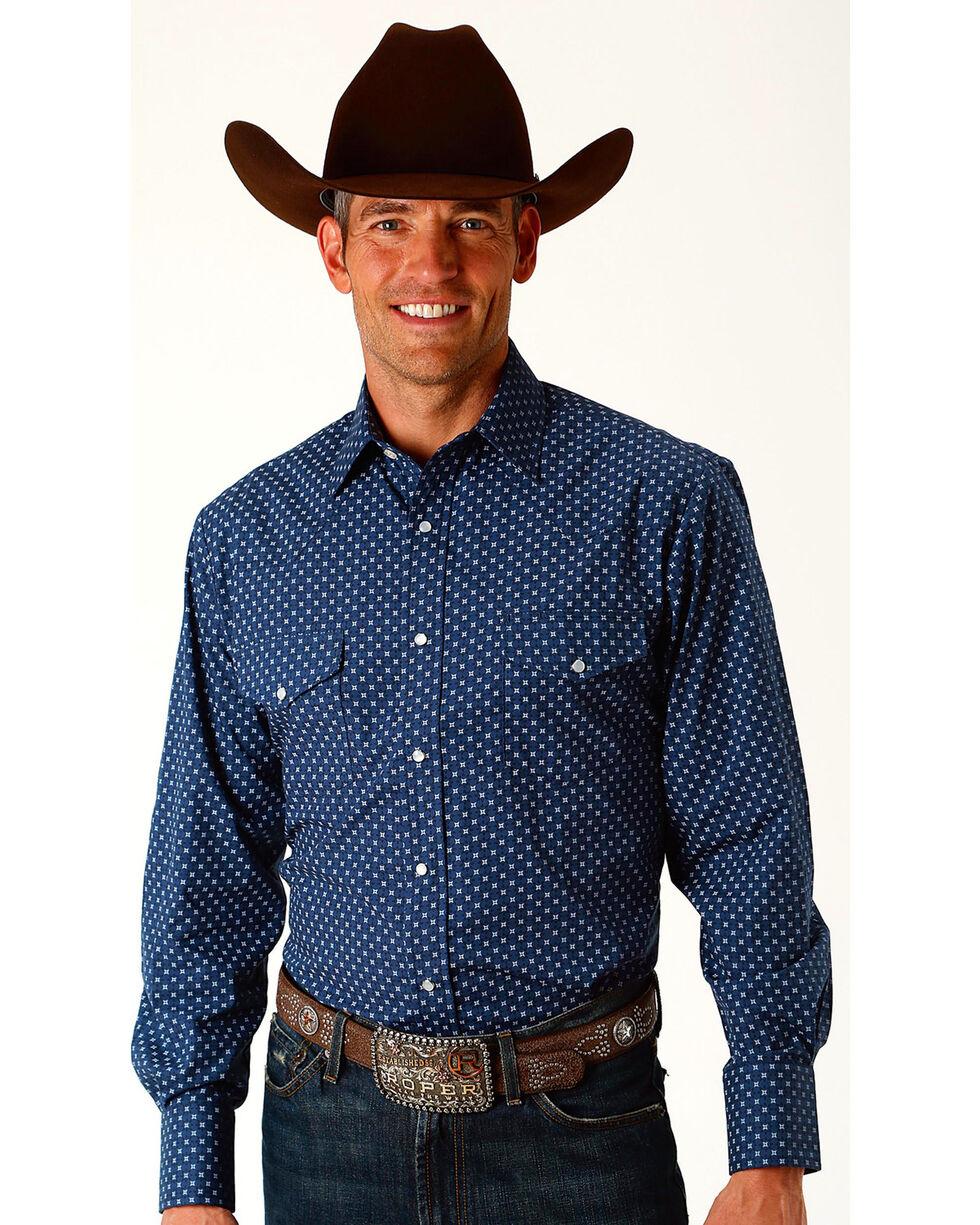 Roper Men's Star Print Long Sleeve Western Snap Shirt, Navy, hi-res