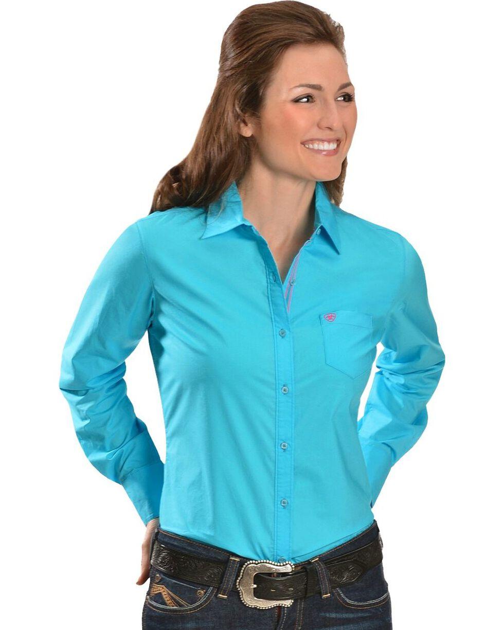 Ariat Turquoise Poplin Shirt, Turquoise, hi-res