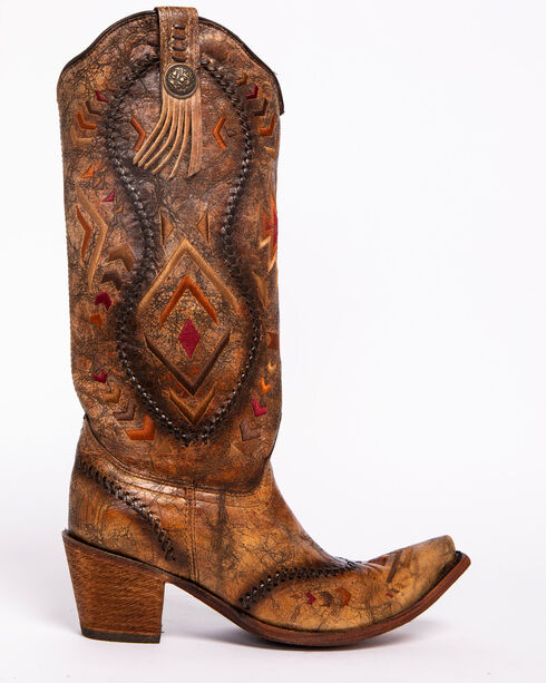 """Corral Boots Women's 15"""" Aztec Embroidered Western Boots, Cognac, hi-res"""
