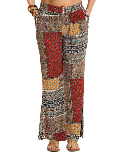 Umgee Women's Burgundy Palazzo Print Pants , Burgundy, hi-res