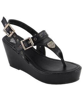 Milwaukee Leather Women's Buckle Strap Wedge Sandals, Black, hi-res