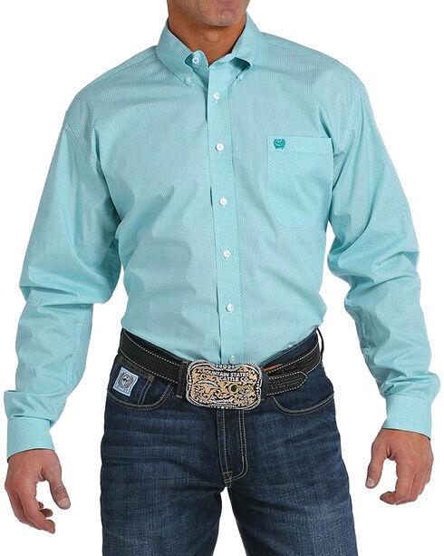 Cinch Men's Teal Print Long Sleeve Button Down Shirt, Teal, hi-res