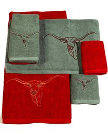 HiEnd Accents Three-Piece Embroidered Longhorn Bath Towel Set - Turquoise, Turquoise, hi-res