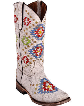 Ferrini Women's Aztec White Cowgirl Boots - Square Toe, White, hi-res