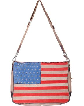 Scully Women's Suede American Flag Crossbody Bag, Patriotic, hi-res