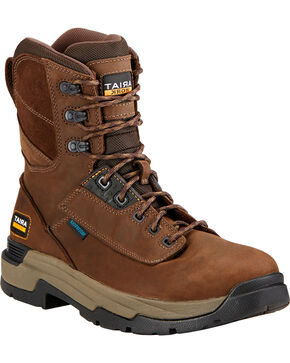 "Ariat Men's Master Grip 8"" H2O Work Boots, Brown, hi-res"