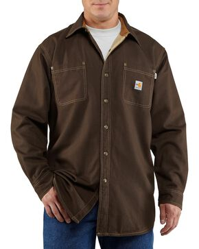 Carhartt Men's Flame Resistant Canvas Shirt Jacket, Dark Brown, hi-res