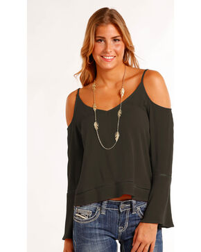 Panhandle Women's Solid Cold Shoulder Top , Black, hi-res
