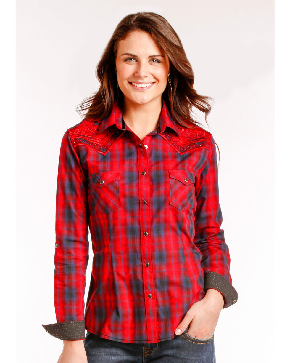 Rough Stock by Panhandle Women's Red River North Vintage Shirt , Red, hi-res