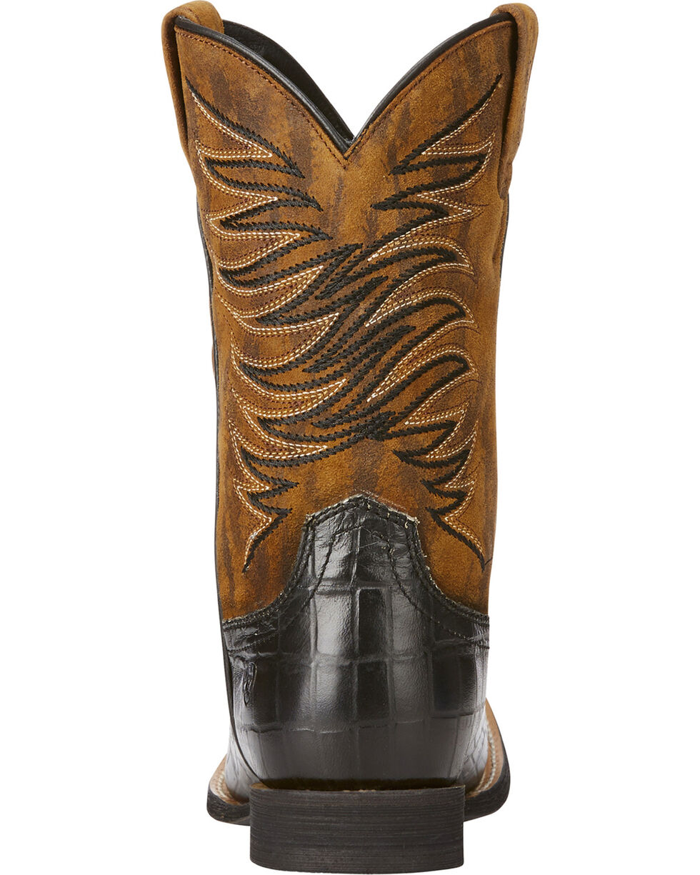 Ariat Boys' Black Firecatcher Caiman Print Boots - Square Toe , Black, hi-res