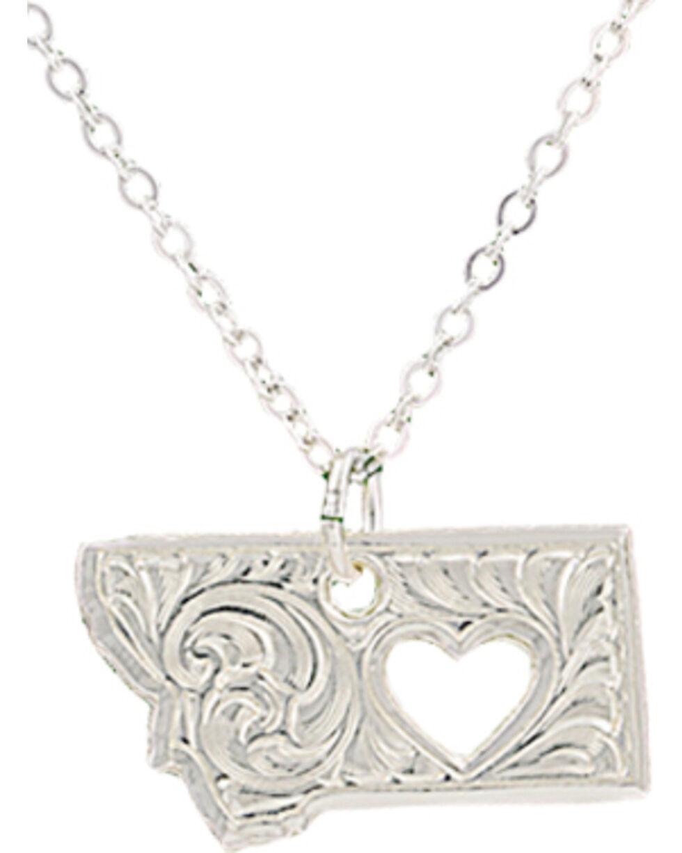 "Montana Silversmiths ""I Heart Montana"" Necklace, Silver, hi-res"