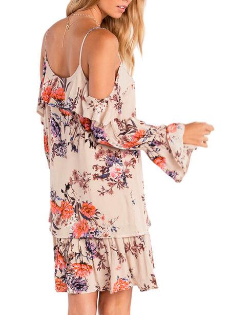 Miss Me Women's Wild Blossoms Peasant Dress, Tan, hi-res