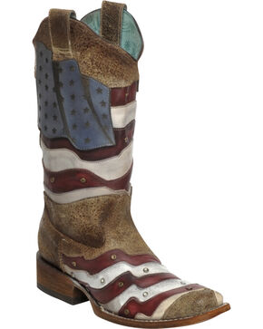 Corral Women's Laser-Cut American Flag Studded Western Boots, Sand, hi-res