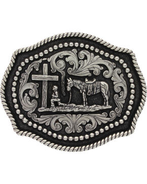 Montana Silversmiths  Praying Cowboy  Buckle, Silver, hi-res