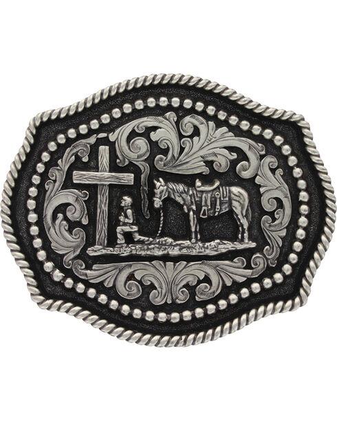Montana Silversmiths  Praying Cowboy  Buckle, Silver, hi-res