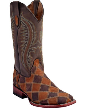 Ferrini Men's Maverick Patch Western Boots - Square Toe , Chocolate, hi-res