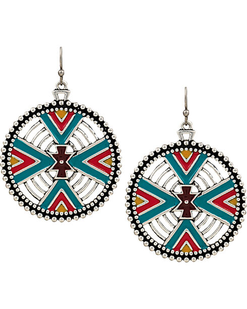 Rock 47 by Montana Silversmiths Points of Aztec Four Directions Earrings, Silver, hi-res