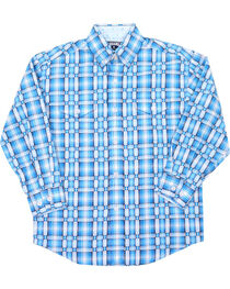 Panhandle Boys' Plaid Long Sleeve Plaid Print Western Shirt, Turquoise, hi-res