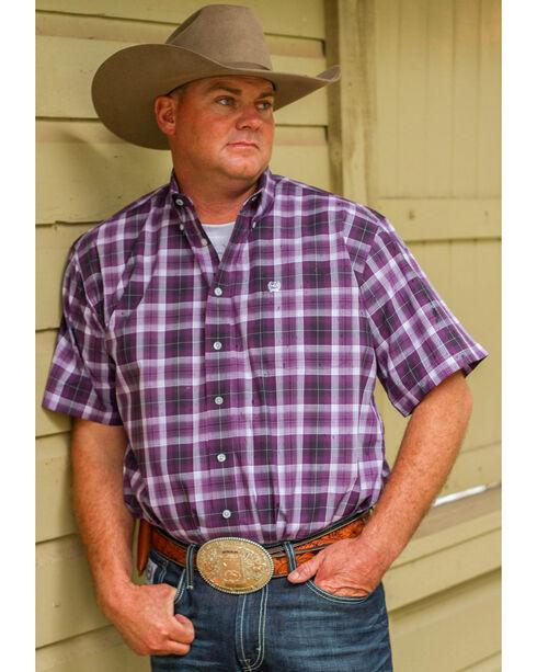 Cinch Men's Classic Fit Plaid Short Sleeve Shirt, Purple, hi-res