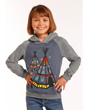 Rock & Roll Cowgirl Girls' Teepee Embellished Hoodie, Grey, hi-res