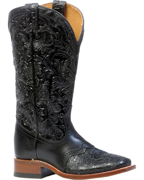 "Boulet Women's 13"" Wide Square Saddle Vamp Tooled Boots, Black, hi-res"