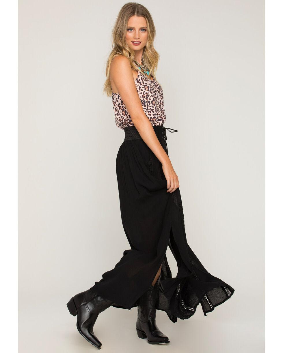 Shyanne Women's Belted Lace Black Maxi Skirt, Black, hi-res