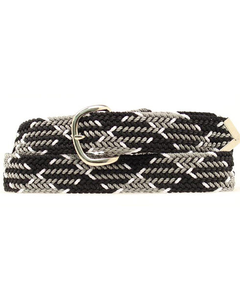 Nocona Black and Grey Machine Woven Braided Belt, Black, hi-res