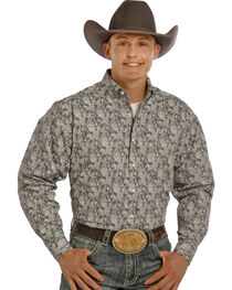 Tuf Cooper by Panhandle Men's Dark Paisley Printed Long Sleeve Shirt, , hi-res