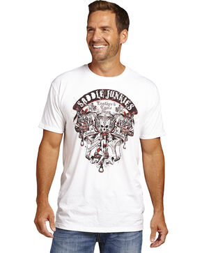 Cowboy Up Men's Saddle Junkies Short Sleeve T-Shirt, White, hi-res