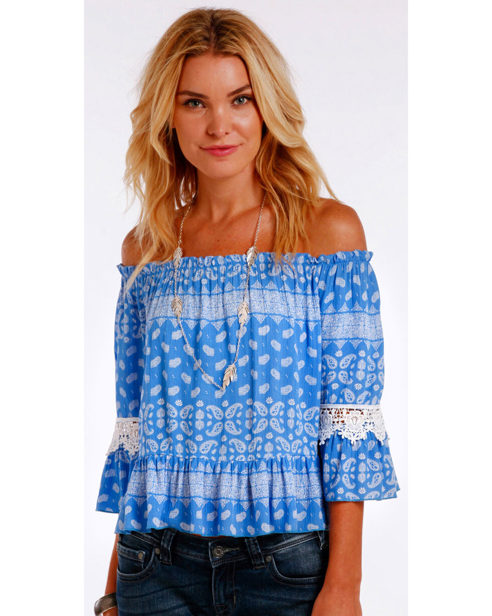 Panhandle Women's Off The Shoulder Paisley Top, Blue, hi-res
