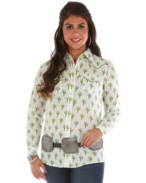 Wrangler Women's Cactus Printed Long Sleeve Shirt, , hi-res