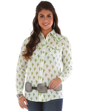 Wrangler Women's Cactus Printed Long Sleeve Shirt, Ivory, hi-res