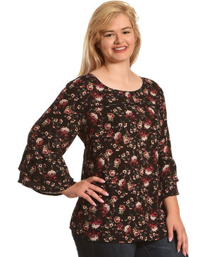 Eyeshadow Women's Floral Long Sleeve Peasant Top - Plus, Black, hi-res
