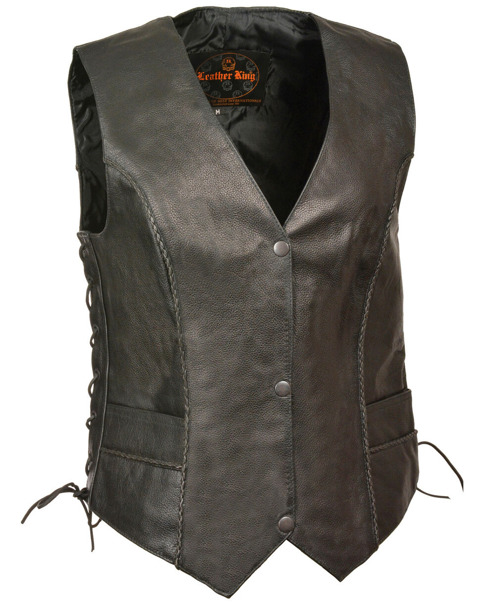 Milwaukee Leather Women's Thin Braid Snap Front Vest - 4X, Black, hi-res