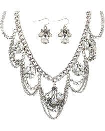 Shyanne® Women's Multi-Chain Rhinestone Jewelry Set, , hi-res