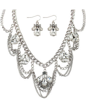 Shyanne® Women's Multi-Chain Rhinestone Jewelry Set, Silver, hi-res