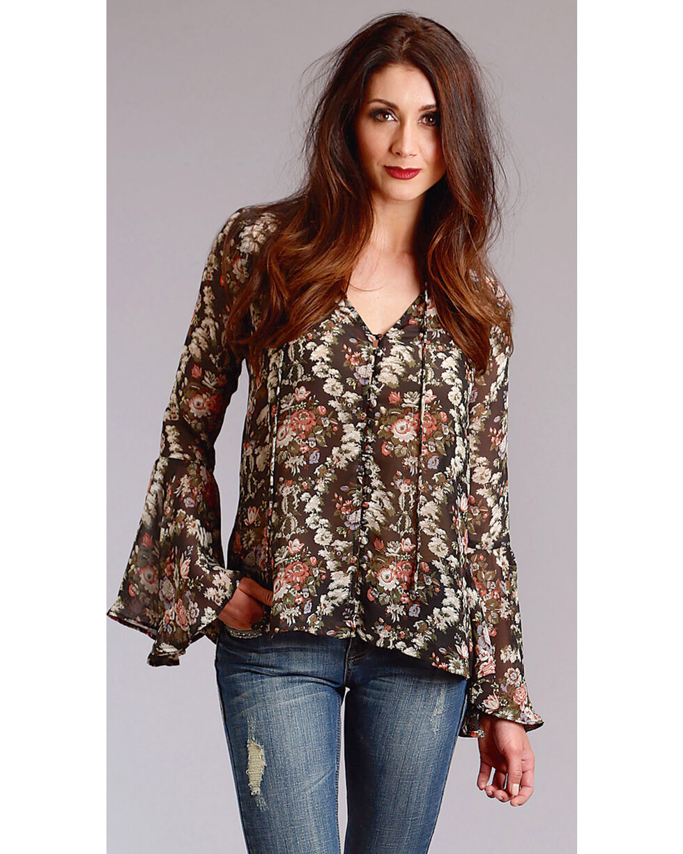 Stetson Women's Bell Sleeve Floral Print Peasant Top, Black, hi-res
