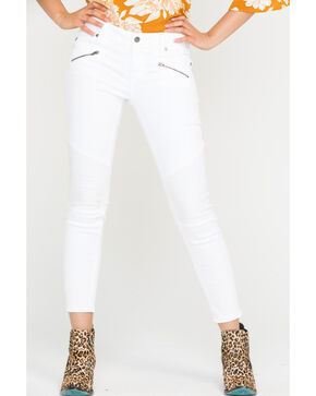 Miss Me Women's White ZIpper Jeans - Skinny , White, hi-res