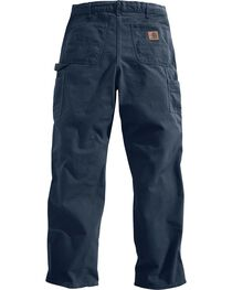 Carhartt Petrol Washed Duck Dungaree Work Pants, Dark Blue, hi-res