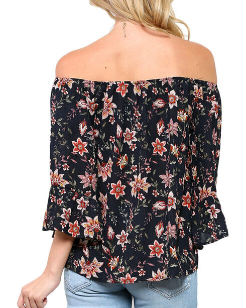 Ces Femme Women's Sunflower Off The Shoulder Long Sleeve Shirt, Black, hi-res