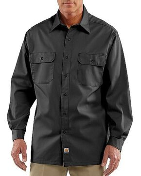 Carhartt Men's Long Sleeve Twill Work Shirt, Black, hi-res