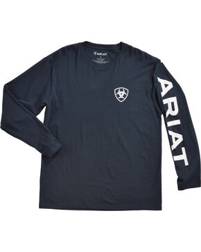 Ariat Men's Navy Logo Branded Long Sleeve Tee , Navy, hi-res