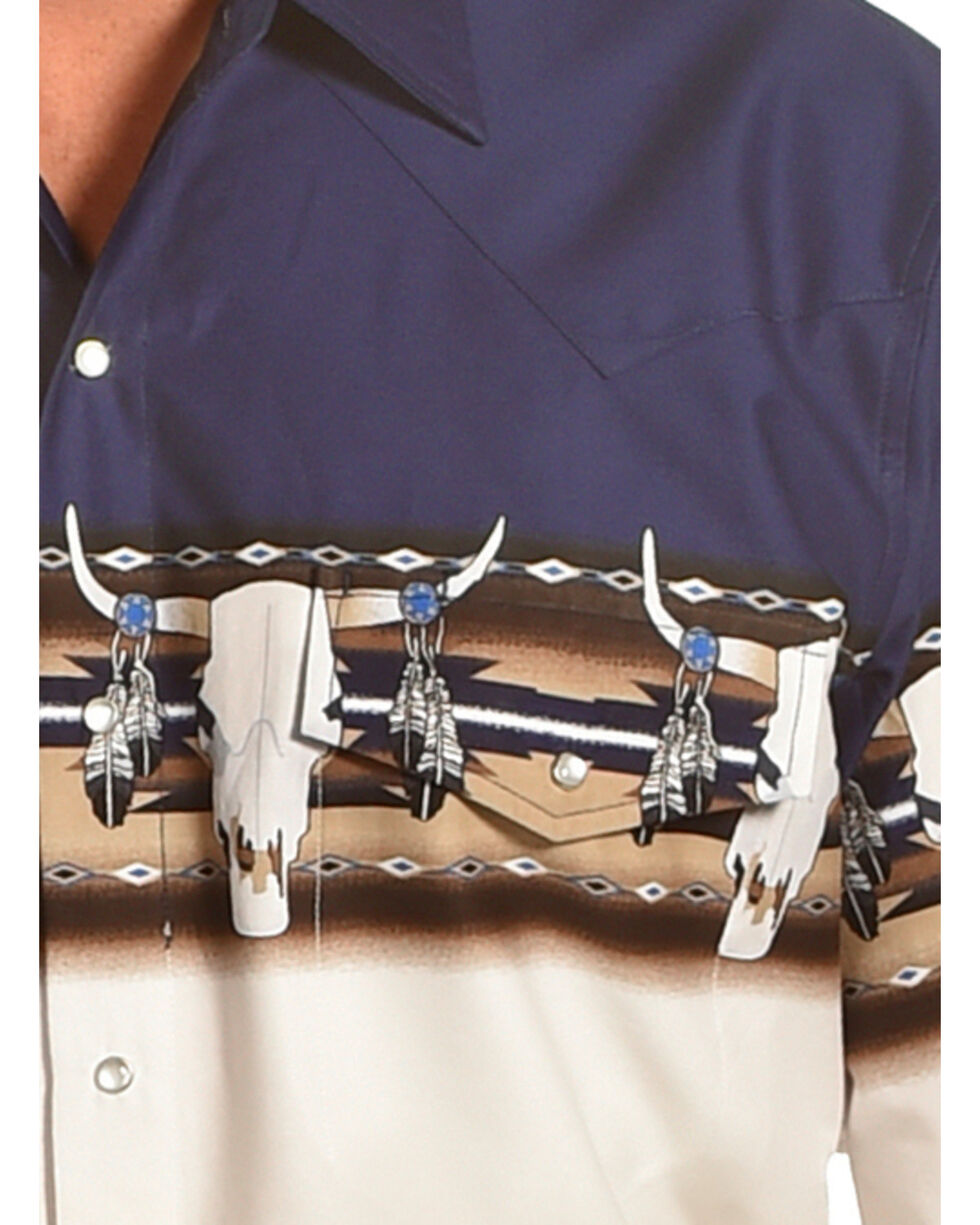 Cumberland Outfitters Men's Navy Skull Border Print Shirt , Navy, hi-res