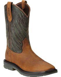 Ariat Men's Maverick Wide Square Toe Western Work Boots, , hi-res
