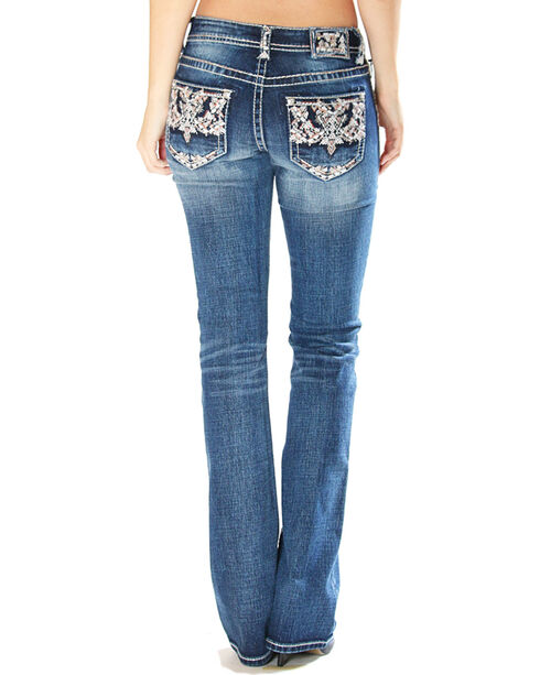 Grace in LA Women's Indigo Embellished Pocket Jeans - Boot Cut , Indigo, hi-res