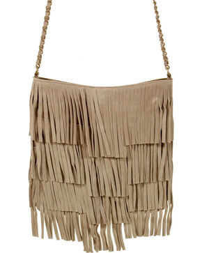 Shyanne® Women's Fringe Crossbody Tote, Tan, hi-res