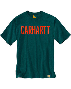 Carhartt Men's Workwear Block Graphic Short Sleeve Tee , Hunter Green, hi-res