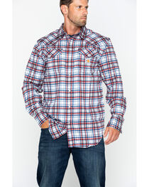 Carhartt Men's Plaid Navy Flame-Resistant Snap-Front Shirt , , hi-res